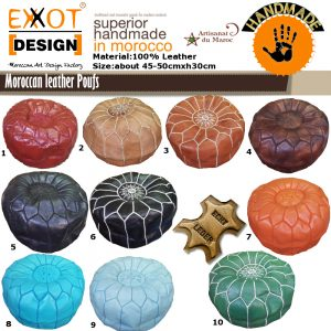 Moroccan Handmade Leather Poufs Ottoman