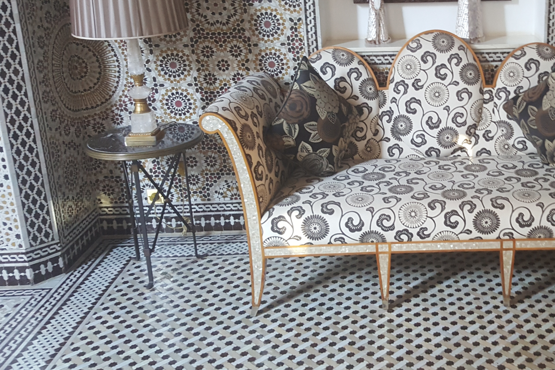 sofa,furniture,Wrought Ironwork,table,zellige,mosaic
